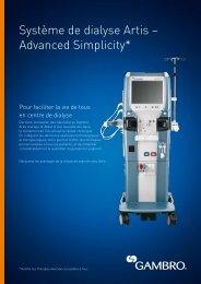 Système de dialyse Artis – Advanced Simplicity* - Gambro
