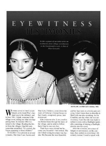 Eyewitness Testimony: Pilar Gonzalez - Garabandal