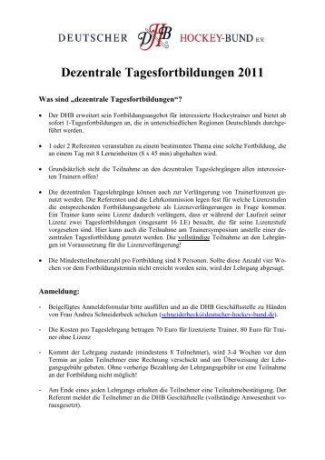 Dezentrale Tagesfortbildungen 2011 - Deutscher Hockey Bund e.v.