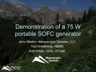 Demonstration of a 75 W portable SOFC generator - Fuel Cell Markets