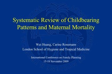 Systematic Review of Childbearing Patterns and Maternal Mortality
