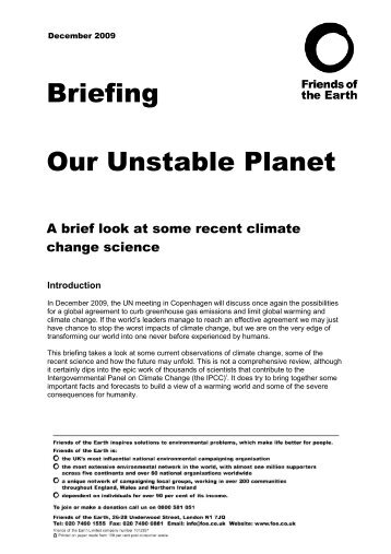 Our Unstable Planet - A brief look at some recent climate change ...