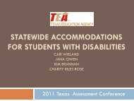 statewide accommodations for students with disabilities - Frisco ISD