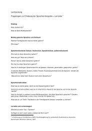 Lernberatung Fragebogen zur Erhebung der Sprachlernbiografie + ...