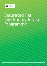 Saturated Fat and Energy Intake Programme - Food Standards Agency