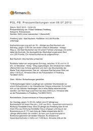 POL-FB: Pressemitteilungen vom 09.07.2013: - Firmendb