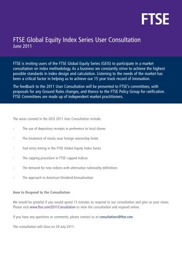 Preview the FTSE GEIS Consultation