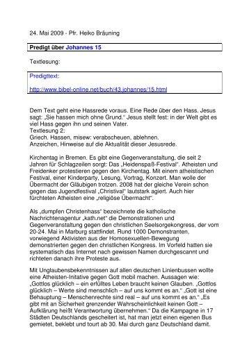 24.05 Johannes 15 Hass (PDF) Pfr. Heiko Bräuning