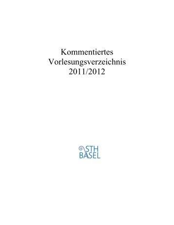 Kommentiertes Vorlesungsverzeichnis 2011/2012
