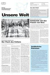 Unsere Welt - schweizerische friedensbewegung