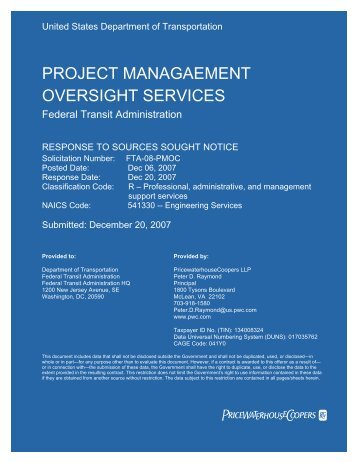 FTA PMO Capabilities - Final - Federal Transit Administration