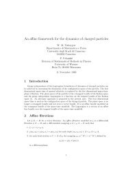 An affine framework for the dynamics of charged particles