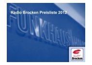 Radio Brocken Preisliste 2012 - Funkhaus Halle