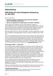 Interim Management Statement per 31. März 2011 - GAM Holding AG