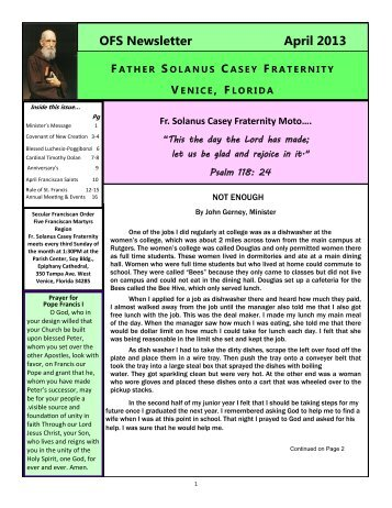 OFS Newsletter April 2013 - Five Franciscan Martyrs Region
