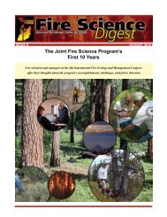 Joint Fire Science Program Fire Science Digest • Issue 8 • August ...
