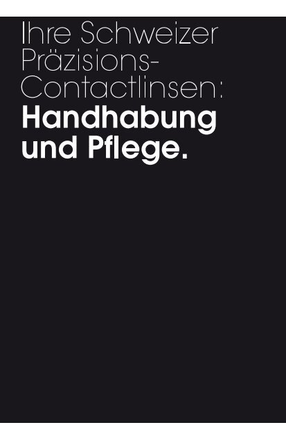 Handhabungsbroschüre - Galifa Contactlinsen AG