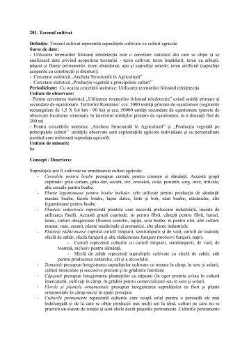 201. Terenul cultivat Definiţie: Terenul cultivat reprezintă ... - PPDIM