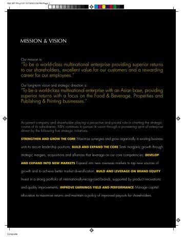 MISSION & VISION - Fraser and Neave Limited