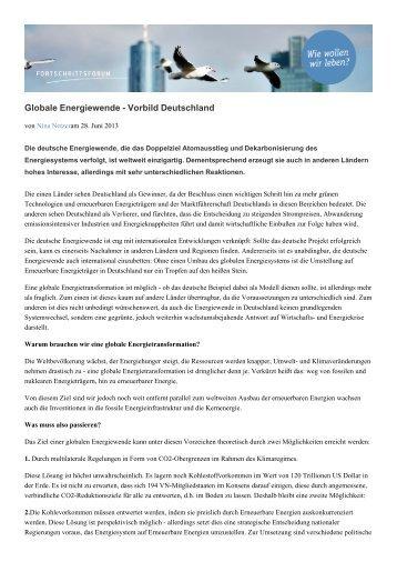 Globale Energiewende - Vorbild Deutschland - Fortschrittsforum