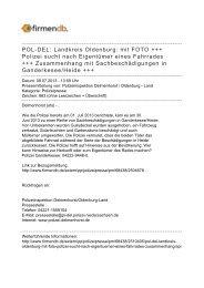 POL-DEL: Landkreis Oldenburg: mit FOTO +++ Polizei sucht nach ...