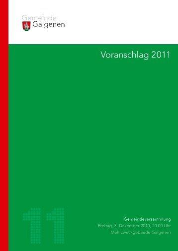 Budget 2011 - Galgenen