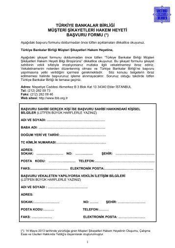 TBB Müşteri Şikayetleri Hakem Heyeti Şikayet Formu
