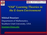 ?Old? Learning Theories in the E-learn Environment - CASA