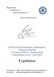 Bayerischer Gehorlosen - Sportverband ev Sparte Badminton
