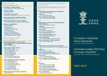 Fondation Médicale Reine Elisabeth Geneeskundige ... - KU Leuven