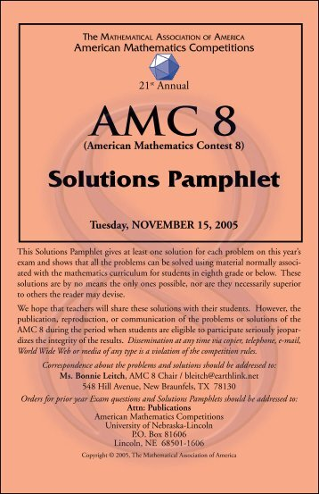 (American Mathematics Contest 8) Solutions Pamphlet
