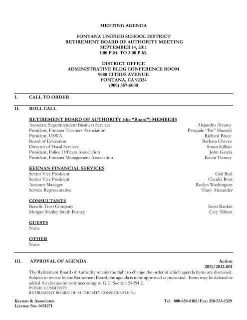 FUSD Retirement Board of Authority Meeting 9/14 - Fontana