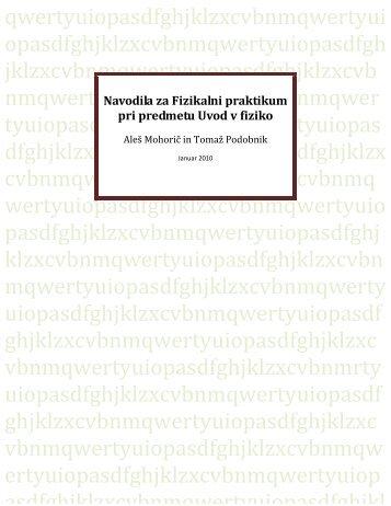 Fizikalni praktikum Uvoda v fiziko - Fakulteta za matematiko in fiziko