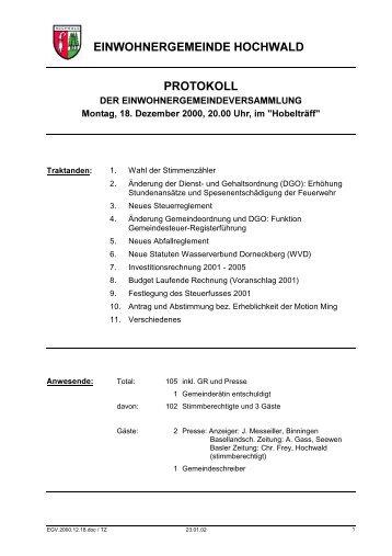 EINWOHNERGEMEINDE HOCHWALD PROTOKOLL - firma-web