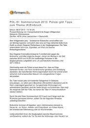 POL-SI: Sommerurlaub 2013: Polizei gibt Tipps zum ... - Firmendb