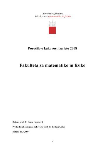 2008 - Fakulteta za matematiko in fiziko - Univerza v Ljubljani