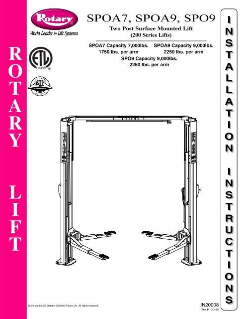 [SCHEMATICS_4LK]  ROTARY SPOA7-9 SPO9 400 SERIES INSTALL.pdf | Rotary Lift Wiring Diagram |  | Yumpu