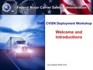 CVISN Deployment Workshop - Federal Motor Carrier Safety ...