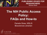 The NIH Public Access Policy - Galter Health Sciences Library