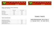 TENNIS TARIFE WINTERSAISON 2012/2013