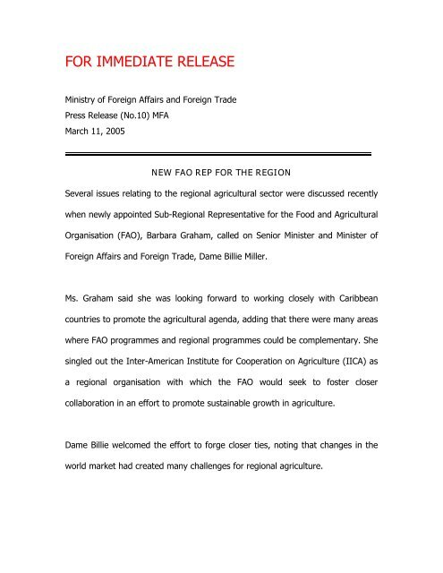 for immediate release - Ministry of Foreign Affairs & Foreign Trade