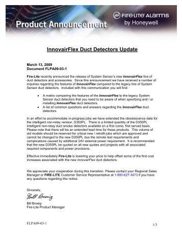 InnovairFlex Duct Detectors Update - Fire-Lite Alarms