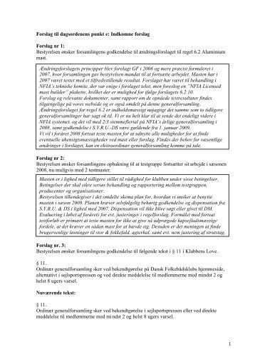 Forslag til dagsordenens punkt e