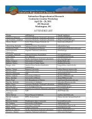 ATTENDEE LIST - US Department of Energy Subsurface ...