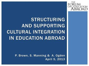 Structuring and Supporting Cultural Integration - Forum on ...