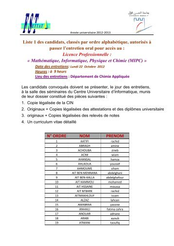 Liste 1 des candidats, classés par ordre alphabétique, autorisés à ...