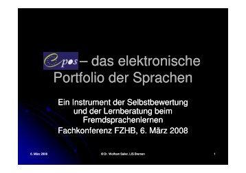 epos – das elektronische das elektronische Portfolio der Sprachen