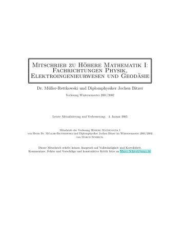 Mitschrieb zu Höhere Mathematik I: Fachrichtungen Physik - The-Jens