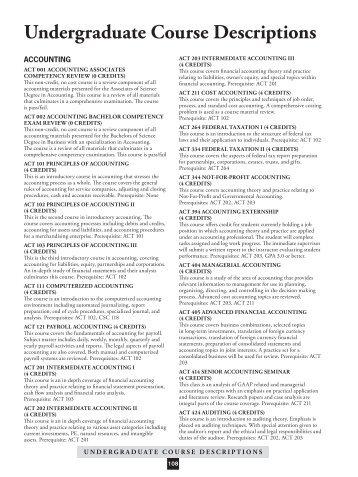 Undergraduate Course Descriptions - Sullivan University | Library