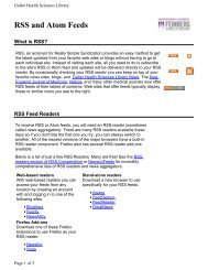 RSS and Atom Feeds - Galter Health Sciences Library